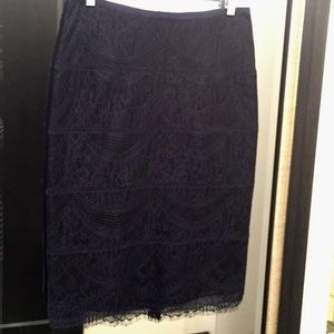 Lace navy pencil skirt